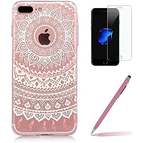 Custodia iPhone 7 Plus [Pellicola Protettiva in Vetro Temperato], Yoowei® Chiaro Cristallo Trasparente Ultra Sottile Morbido TPU Gel Case Cover per iPhone 7 Plus 5.5