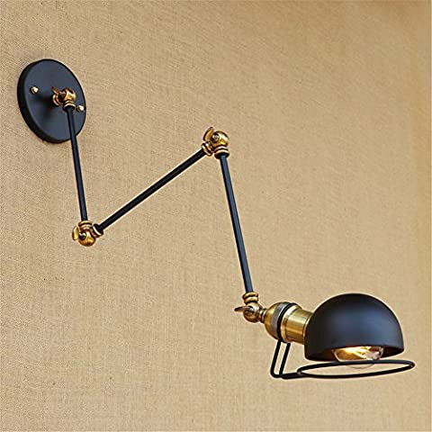 QWER Modern Creative Study Turn To Left Half Of Nostalgia For The Black Iron Headboards Long Arm Wall Lights, Diameter 170Mm Arm Length