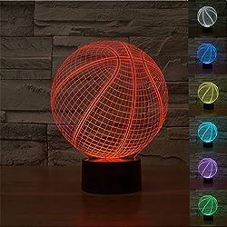 3D Lámpara, SUAVER 3D Ilusión de Visualización óptica 7 Colores Cambiar interruptor Táctil luz de Noche para el Dormitorio del Sitio de Niños (Baloncesto)