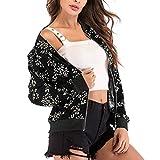 ABsoar Mental Damen Stehkragen Langarm Zipper mit Blumendruck Bomberjacke Kurzmantel Frauen Bluse Mode Baseball Mantel V-Ausschnitt Jacke