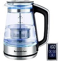 Bonsenkitchen Hervidor de Agua de Vidrio Eléctrico con Temperatura Regulable, Función de Mantener Caliente, Pantalla Táctil LED, Tetera 1.7L / 2200W