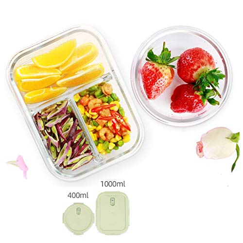 Brotdose Lunchbox Bento Partition 2-teiliges Set Glasbehälter Trennung Isoliert Auslaufsicher Tragbares Fach Mikrowelle Teen School Office MUMUJIN (Color : Green) (Office Glas Lunch-box)