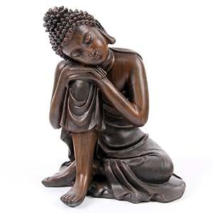 Statuette Bouddha Thai Assis tête Sur genou - Effet bois - Statue 14cm - B111