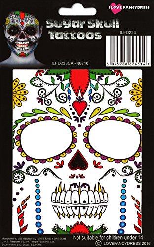 (ILOVEFANCYDRESS ENTFERNBARE/AUFKLEBBARE Gesichts Oder KÖRPER Tattoos Sugar Skull Tattoo)