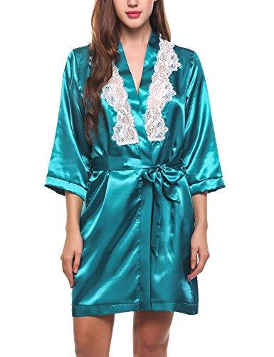 Avidlove locker Schlafanzug Damen Kimono Robe Nachtwäsche 3/4 Ärmel Gürtel Spitze Satin für Spa Hotel Schlafen (Knie-länge Satin Brautjungfer Kleid)
