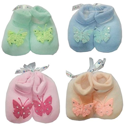 Baby Basics - Newborn Infant Baby Girl/Boy Booties Multicolor - Set Of 4 Pair