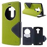 Roar LG G4 Flip Case Tasche, Flipcase Klapphülle, Bookstyle Handytasche, Premium Schutzhülle mit Sichtfenster für LG G4, Grün