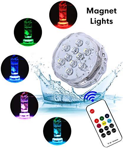 Galleria fotografica Impermeabile Luci LED Sommergibili con RF telecomando – Alilimall Luci LED Batteria Luce Piscina Luce Doccia per vasi Piscina Giardino decorazioni serbatoio di pesce per Halloween all'aperto