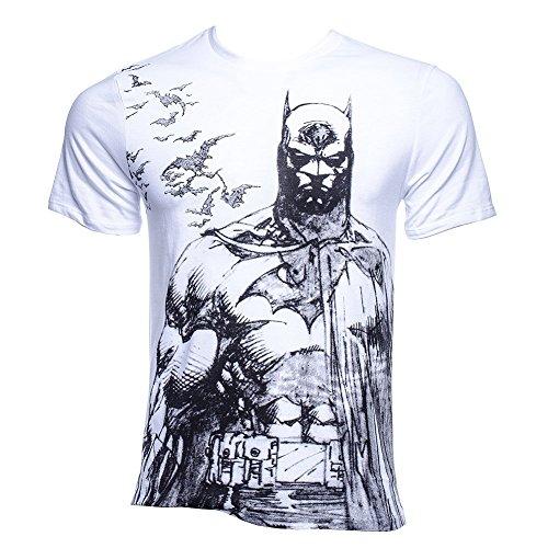 Batman T-Shirt - DC Comics - Large B&W Front Print - Flying Bat Motif - Cotton - White