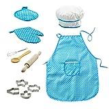 Toyvian Juego de juego de chef para niños Juego de rol para niños Cocinero Juego de disfraces (azul) - 11pcs