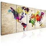 murando Impression sur Toile intissee Carte du Monde 200x80 cm Tableau 5 Parties...