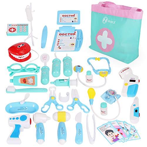 Nextx kit medico giocattolo – set di 35 pezzi con custodia – gioco di ruolo educativo per bimbi piccoli – regalo perfetto di natale per bambini e bambine 3+ anni