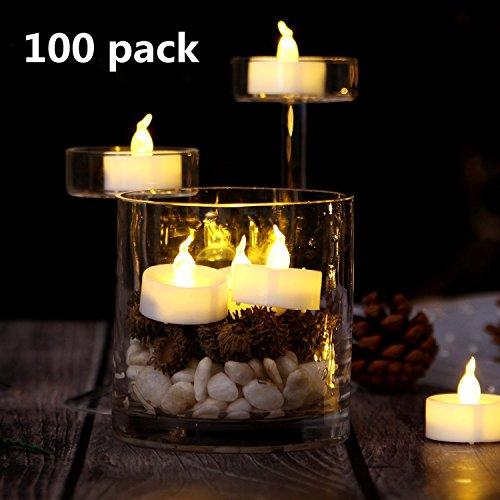 LED Kerzen, AGPTEK 100 Stück langlebige LED Teelicht flammenlose batteriebetrieben Kerzen LED Votivkerzen Teelichter candles tealights für Halloween, Weihnachten, Dekoration, Geburtstag, Hochzeit, Partys Warm Weiß