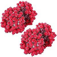 MELLIEX 400pcs Bayas de Acebo Esmerilado, Frutas Artificiales de Mini Rojas Adornos de Navidad para Corona de Navidad, Decoración de DIY