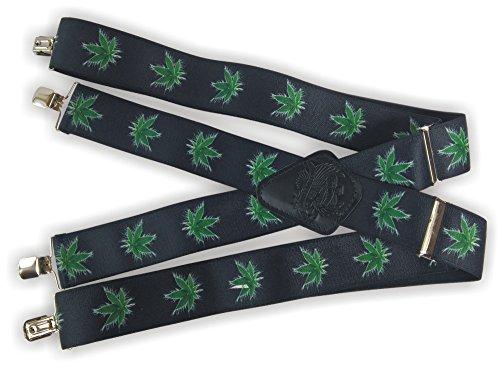 Original Hosenträger für Motorrad/Motorbike, Cannabis muster, hochwertiges elastisches Material, breit extra starken 5 cm, 4 extra starken clips, X Form, Hergestellt in EU