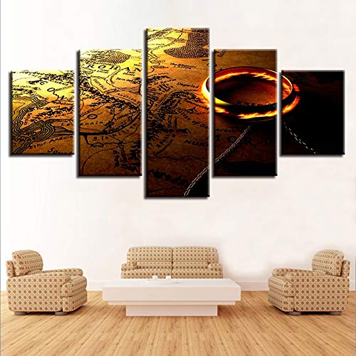 FJNS Image d'art Mural Impression sur Toile 5 Pièces HD Seigneur des Anneaux Et Carte Toile Peintures Cadre Affiches Modulaires pour Salon Décor,B,30×40×230×60×230×80×1