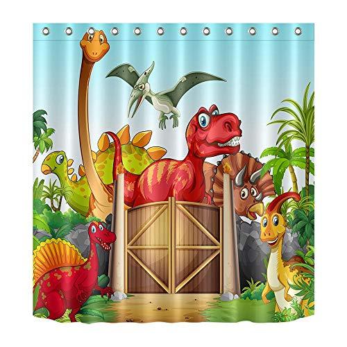 LB Dibujos Animados Animal Salvaje Cortina de la Ducha,Dinosaurios Cortinas de baño de decoración Infantil, 150X180CM Tejido de poliéster Resistente al Agua y contra el Moho