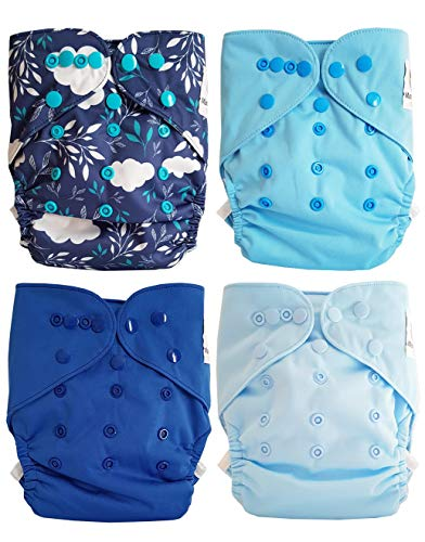 Maman et bb Nature - Lot de 4 couches lavables TE2 à doubles goussets - Blue Spring
