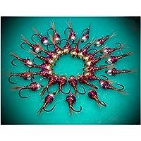 Massimo Clini Color Pheasant & Violet Ninfa de tungsteno, (Pack de 9 artificiales Tre para tamaño y peso, costruita sobre anzuelos Barbless cecoslovacchi, conforme FIPS Mouche