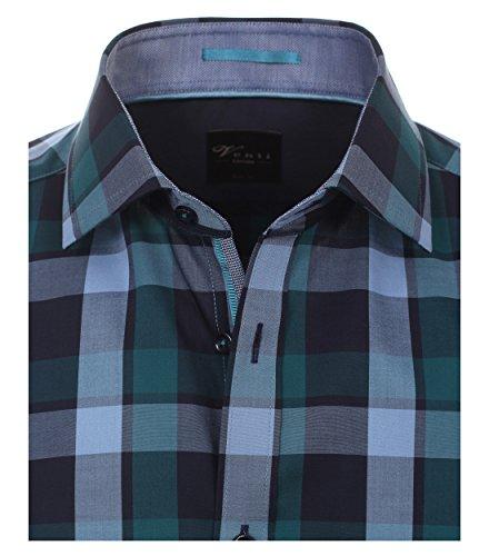 Venti - Body Fit - Herren Langarm Karo Popeline Hemd aus 100% Baumwolle mit Kent Kragen (162546100A) Grün (300)