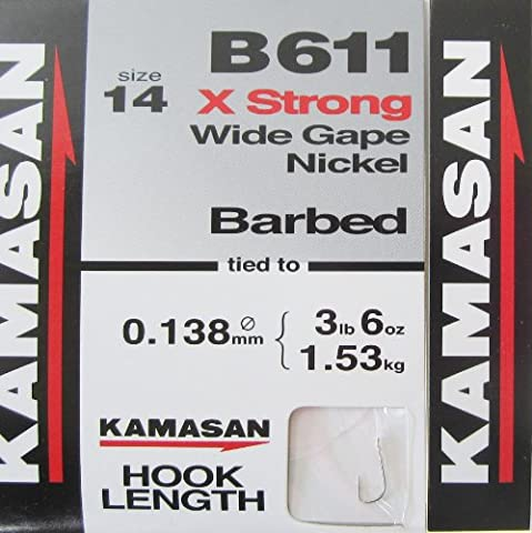 FTD - 30 (3 packs of 10) KAMASAN B611 X-STRONG Wide Gape (BARBED & BARBLESS) Fishing Hooks to Nylon - available in SINGLE SIZE - 14, 16, 18, 20 & 22 (BARBED,