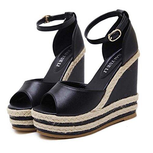 SHEO sandales à talons hauts Mesdames avec des pantoufles à talons hauts avec des bandes de paille avec des sandales ( Couleur : Abricot , taille : 37 ) Noir