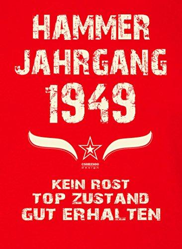 Damen-Kurzarm-T-Shirt Girlieshirt Geschenk-Idee zum 68. Hammer Jahrgang 1949 Geburtstag Geburtstagsgeschenk :-: Farbe: rot Rot