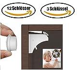 Magnetische Schranksicherung für Schrank und Schublade (12 Schlösser, 3 Schlüssel), unsichtbare Kindersicherung, Sicherheitsschloss / Schrankschloss für Babys und Kinder. Montage ohne Bohren und Schrauben