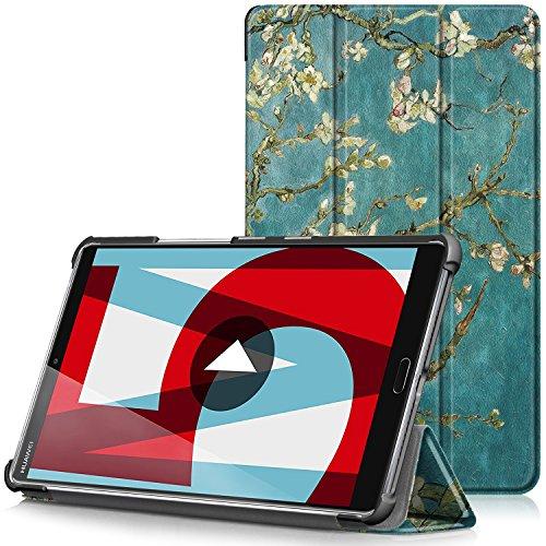 TTVie Hülle für Huawei MediaPad M5 8.4 - Ultra Dünn PU Leder Schutzhülle mit Standfunktion und Auto Aufwachen/Schlaf Funktion für Huawei MediaPad M5 21,34 cm (8,4 Zoll) Tablet-PC, Aprikosenblüte