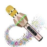Karaoke Microphones For Kids Wireless Bluetooth Microphone Karaoke With Flash LED, Magic Voice