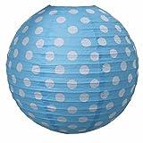 LS-LebenStil LS-Design Lampenschirm Papierlampe Lampion Japanballon Blau Weiss Punkte 50cm