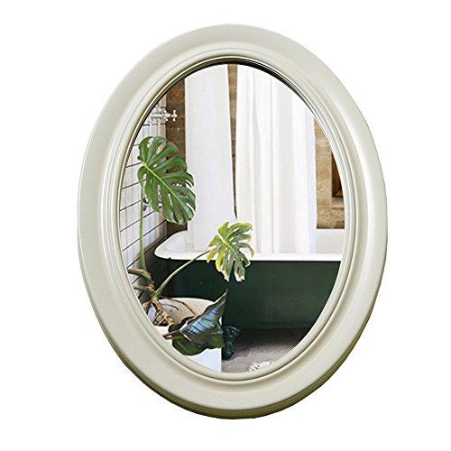 Espejo de baño Ovalado Europeo, antivaho de baño, baño de Pared, Lavabo (Color : Blanco)