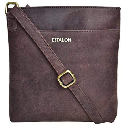 ESTALON Crossbody-Tasche für Frauen - Crossbody-Tasche für Frauen aus Leder, Crossbody-Taschen, kleine Geldbörse Crossover, Braun (Brown Crazy Horse 2), Medium