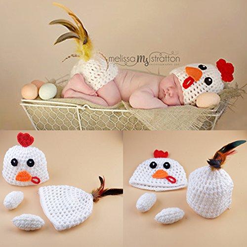 Baby Gap Outfit (HUPLUE Unisex Baby Gap Outfit Newborn Handgefertigt Crochet Strick Fotografie Prop Huhn Set)