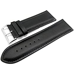 Black Padded Leather Watch Strap Band With A Stitched Edging And Nubuck Lining 28mm