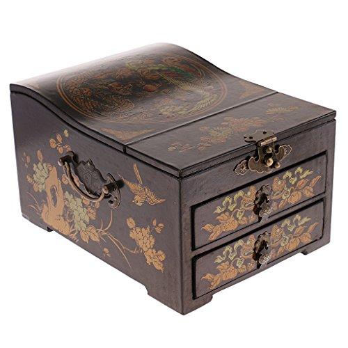MagiDeal Antike Schmuckkästchen aus Holz | Schmuckkasten | Schmuckbox | Schmuckaufbewahrung mit Spiegel - Schwarz - Kommode, Spiegel, Brust