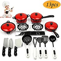 bluesees Child Cooking Toy, 13Pcs Kids Play Toy Kitchen Cooking Play Sets Home Cooking Role Play Toys Cooking Food Utensils Pans Pots Dishes Cookware Cooking Toy Gift For Kid Pretend Play