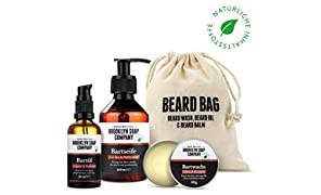 Brooklyn Soap Company - Kit Cura della Barba: Beard Bag, Costituito da Shampoo, Olio e Balsamo da Barba, Cosmetici Naturali