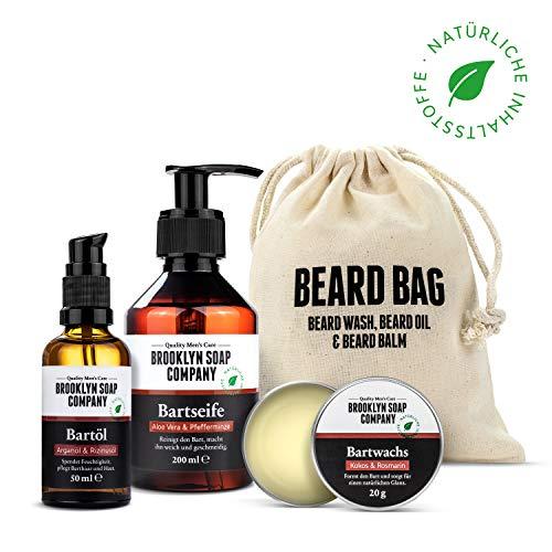 Brooklyn Soap Company: Beard Bag · Hochwertiges Bartpflege Set für Männer mit jedem Barttyp · Natürliches Bartshampoo, Bartöl & Bartwachs ✓