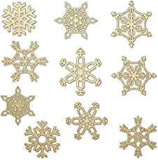 Incredible Gifts India Christmas Snowflakes Wooden DIY (Set of 10)