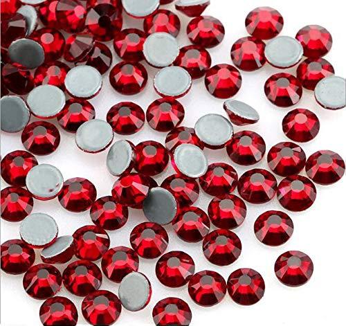 Jollin Hot Fix Kristalle Flacher Rückseite Strasssteine Glas Glitzersteine Nagelkunst Edelsteine Gems, Dunkelrot, SS20 576pcs