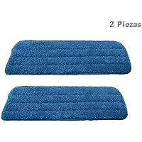 Hosaire 2 Piezas Gamuza lavable de microfibra, repuesto para escoba, Spray Mop by Tech Star, con superficie superior compatible – Color Azul(42*13cm)