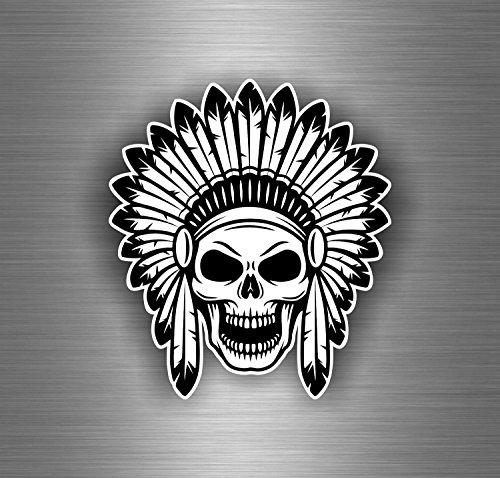 Preisvergleich Produktbild Auto-/Motorrad-Aufkleber, Motiv: indianischer Totenkopf, Pirat, schwarz