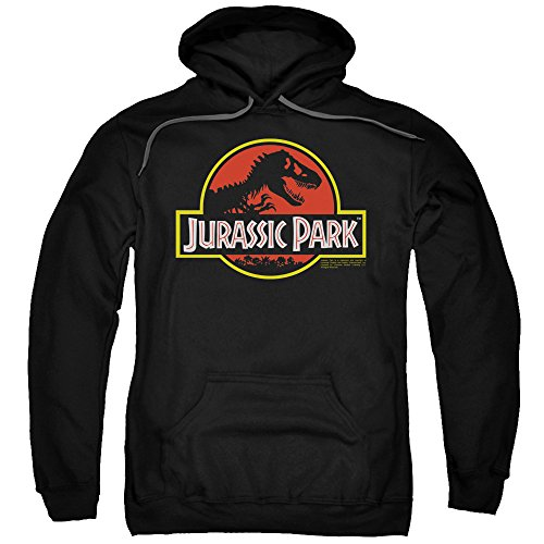 2Bhip Jurassic Park Dinosaur Thriller Movie Classic Logo Adult Pull-Over Hoodie