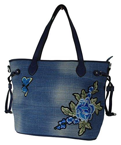 Handtasche Jeans Blumenstickerei von Einkaufszauber (Stonewashed Denim-stoff)