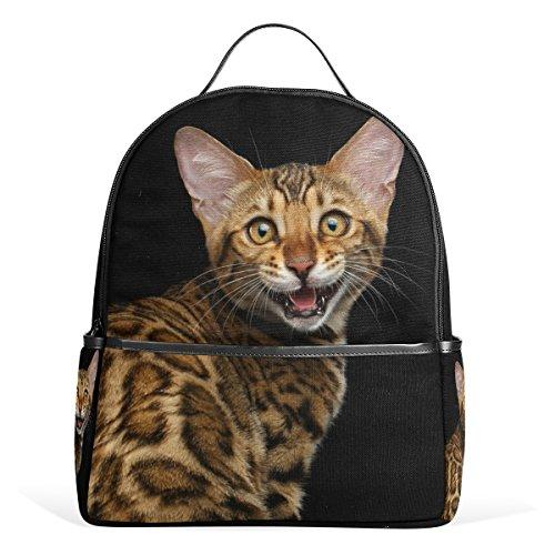 ALAZA Gold Bengal-Kätzchen-Katze-Rucksack für Schule Bookbag (Bengals-rucksack)