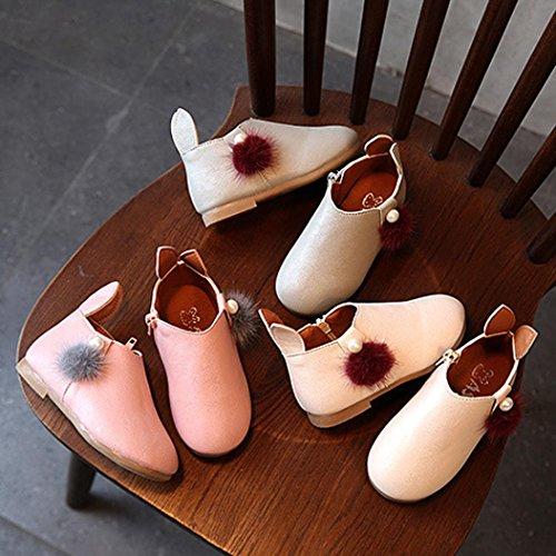 QInMM Sneaker Enfant Bébé Filles Perle Lapin Boule de Poils, Mignon Oreilles Balle Bottes Fermeture Occasionnel Chaussures Halloween