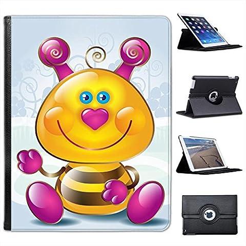 Ape con naso a cuoricino-Custodia in finta pelle con funzione di supporto per Apple iPad, modelli nero Cute Pink Heart Nose Bumble Bee iPad 2, 3 & 4