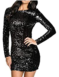 Italily Donna Slim Fit Vestito Matita Paillettes Scollo A V Abito Bodycon  Dress Mini Vestito da Sera 1895da09b6b