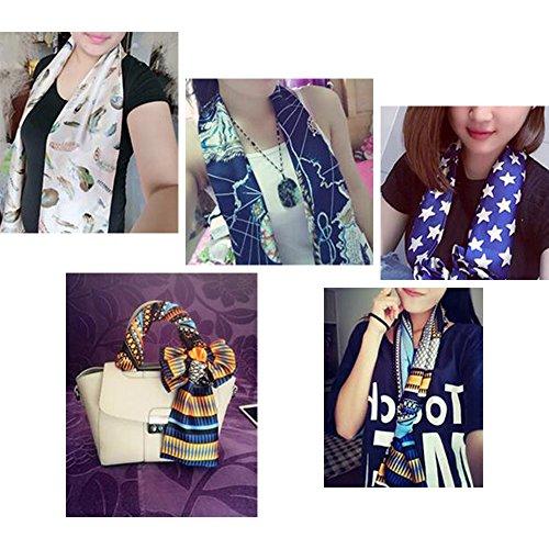 Eizur Femmes Rétro Imprimé Fleur Foulard Ladies Soie Écharpe Satin Châle Foulards Tête Écharpe Taille 18*145cm Couleur 5